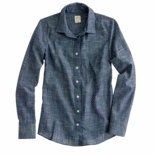 J. Crew Perfect Shirt in Chambray Polka Dot